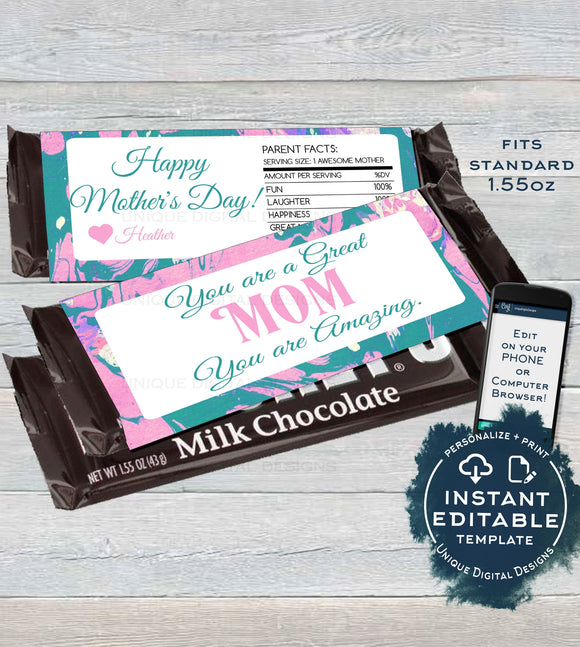Mother's Day Gift Candy Bar Wrapper, Editable Mom Appreciation Chocolate Bar, Mum Day Custom Paint Pastel, Printable  1.55oz