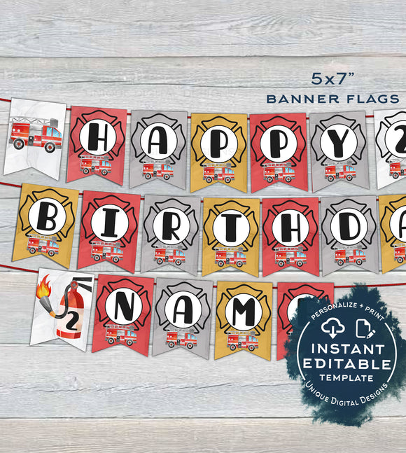 Fire Truck Banner , Editable Firefighter Birthday Bunting Flags, Firetruck Theme Birthday Decor, Printable