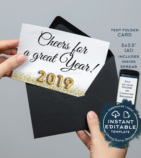 Cheers for a Great Year Thank You Cards, Editable Graduation Thank you, 2019 Printable, Folded Card with Inside Template INSTANT DOWNLOAD A1