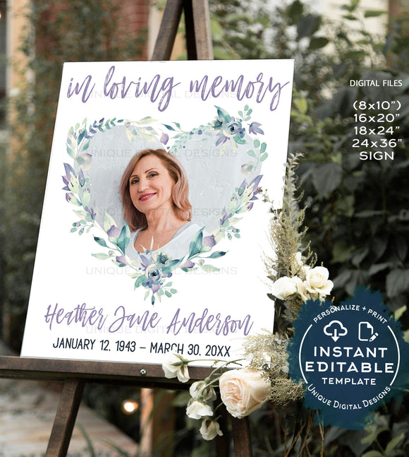 Flower Funeral Welcome Sign, Editable Celebration of Life Sign, Printable Funeral  Memorial Service Poster Custom