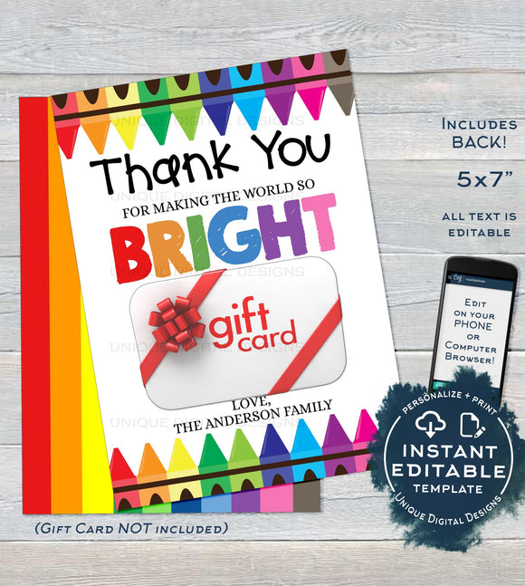 Teacher Gift Card holder, Editable Staff Thank You Card, Printable Teacher Appreciation Bright Crayon diy Digital Printable