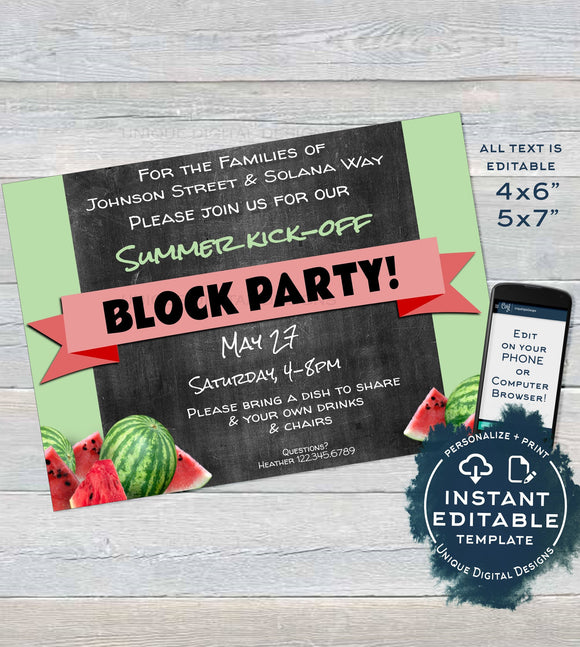 Summer Kick off Block Party Invitation, Editable Neighborhood Street Party, hoa bbq Watermelon Chalk Printable Personalized INSTANT DOWNLOAD