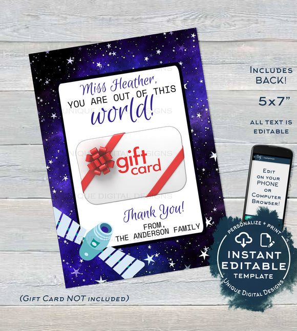 Space Teacher Gift Card holder, Editable Staff Thank You Card, Printable Teacher Appreciation Outta this World Printable INSTANT DOWNLOAD