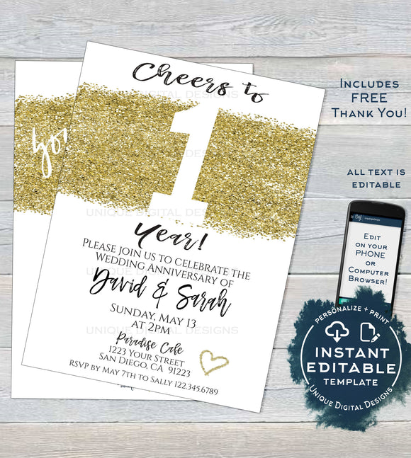 1 year Anniversary Invitation, Editable First Wedding Anniversary Paper 1st year Surprise Party Invite, Printable Template INSTANT DOWNLOAD