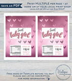 Personalized Girl Baby Shower Candy Bar Wrapper, Editable Baby Girl Chocolate Bar, Pink Baby Shower Custom Printable  1.55oz