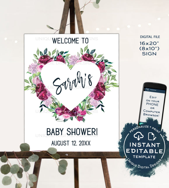 Baby Shower Welcome Sign Template, Editable Welcome Sign, Pink Purple Floral Welcome Poster, diy Sign for Girls Baby Shower INSTANT DOWNLOAD