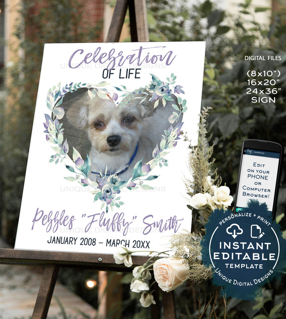 Dog Memorials Sign, Editable Celebration of Life Poster for Pet Lovers, Cat Dog Horse Remembrance Gift, Printable Funeral