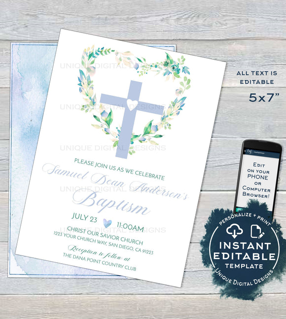 Editable Blue Floral Baptism Invitation , Baby Boys Baptism Invite, Heart Cross Printable Christening