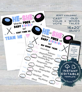 Editable Hockey Gender Reveal Party Old Wife Tales + Cast your Vote Signs, He or She What the Puck will Baby Be Printable