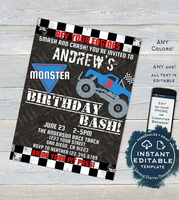 Monster Truck Birthday Invitation, Editable Birthday Bash Party, Rev your Engine Smash Crash Truck Rally Printable Template INSTANT DOWNLOAD