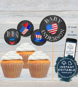 4th of July BaByQ Cupcake Toppers, Editable Baby Shower Gender Reveal BBQ, Printable Cake Favor Tags Decorations