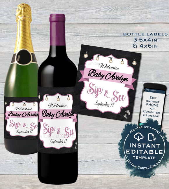 Sip and See Baby Shower Wine Bottle Label, Editable Wine Label Sticker, Champagne Gift for Baby Girl Avery Custom Printable