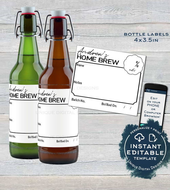 Classic Home Brew Beer Bottle Label, Editable Beer Label Sticker, Brewery Gift for Him, Avery Personalized Custom Printable INSTANT DOWNLOAD