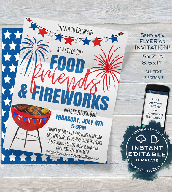 4th of July Invitation, Editable Fourth of July Celebration BBQ Fireworks Neighborhood Block Party Personalized Printable