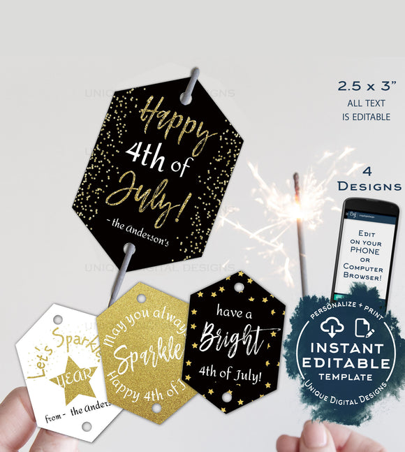4th of July Sparkler Tag, Editable Printable Favor Tags, Personalized Template Let's Sparkle Birthday Party Thank you diy INSTANT DOWNLOAD