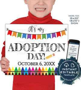 Adoption Day Sign, Editable It's My Adoption Day Photo Prop Announcement, New Family Hip Hip Hooray, diy Printable