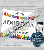 Boys Adoption Day Sign, Editable It's My Adoption Day Photo Prop Announcement, New Family Hooray, diy Printable