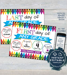 First day of School Sign reusable, 2-in-1 Last day of School Board, Crayons Any Grade, Custom Digital diy Printable