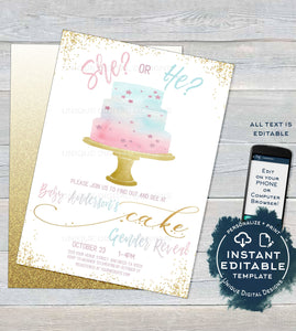 Cake Gender Reveal Invitation, Editable Baby Shower Invite, Team He vs She Reveal, Glitter Cake , Custom Printable