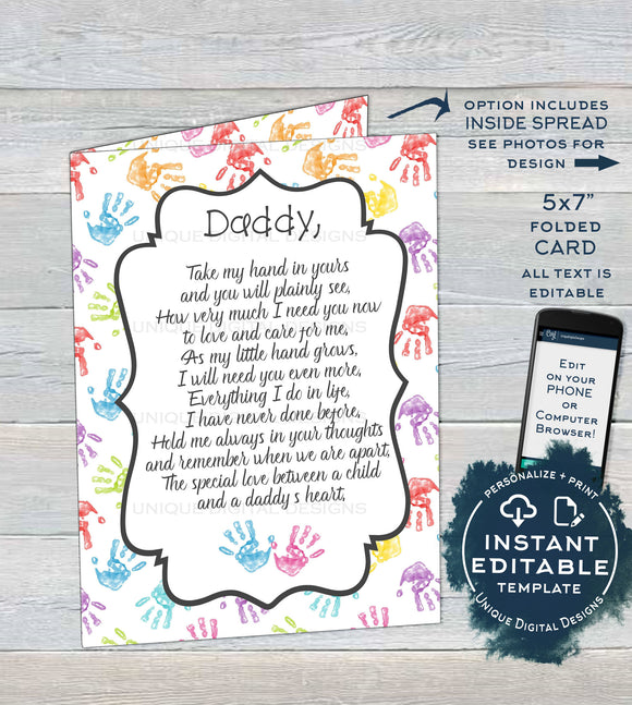 Personalized Fathers Day Card from Kids, Editable Last Minute Gift for Dad, Hand print Hold My Hand Poem, Custom Printable