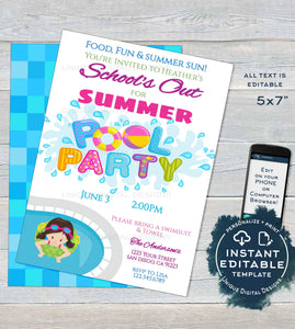 Schools Out for Summer Pool Party Invitation, Editable End of School Pool Party, Summer Graduation Party, Custom Printable