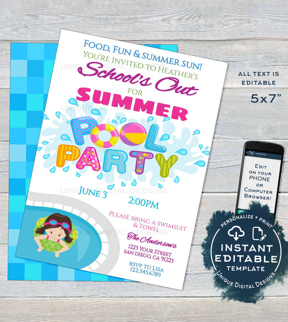 Schools Out for Summer Pool Party Invitation, Editable End of School Pool Party, Summer Graduation Party, Custom Printable INSTANT DOWNLOAD