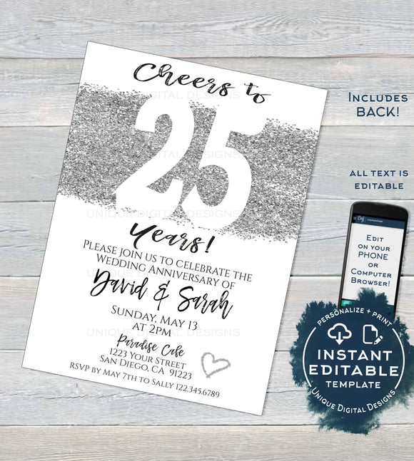 25 year Anniversary Invitation Editable Twenty Fifth Silver Wedding Anniversary 25th Surprise Party Invite Printable