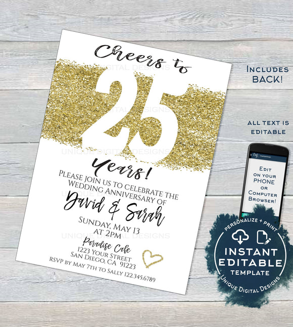 25 year Anniversary Invitation, Editable Twenty Wedding Anniversary Silver 25th Surprise Party Invite, diy Printable