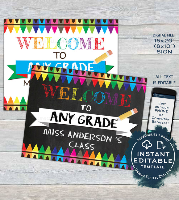 Welcome to School Chalkboard Sign, Editable Teacher First day of School Board Crayon Any Grade DIY Digital Printable