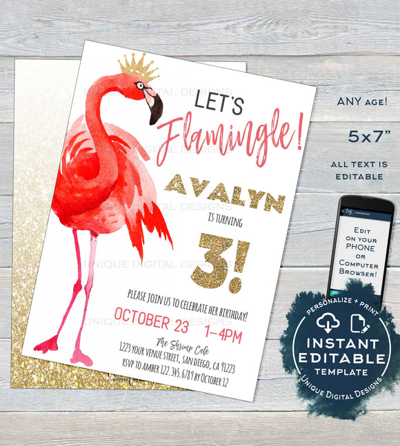 Let's Flamingle Birthday Party Invitation , Editable Girls Birthday Invite, ANY Age Pink Flamingo Party Printable