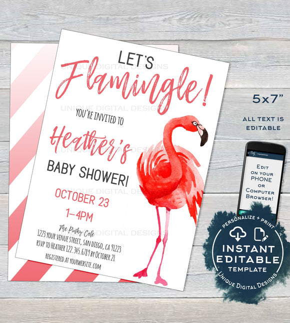Lets Flamingle Baby Shower Invitation Template, Editable Baby Girl Shower Invite Personalized Pink Flamingo Party Printable INSTANT DOWNLOAD