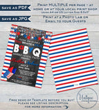 Stars and Stripes BabyQ Gender Reveal Invitation, Editable 4th of July Firecracker Baby Shower He or She bbq, diy Printable