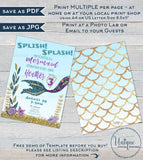 Editable Mermaid Invitation, Splish Splash Birthday Bash, Under the sea Girls Birthday Invite, ANY Age Printable