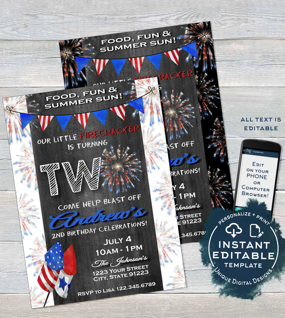 Firecracker Editable Second Birthday Invitation, 4th of July 2nd Birthday Invite, Firework Chalkboard  Printable