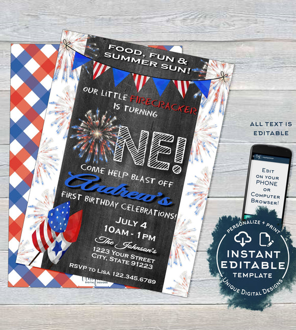 One Firecracker Birthday Invitation, Editable 4th of July First Birthday Invite, 1st Firework Chalkboard Template Printable INSTANT ACCESS