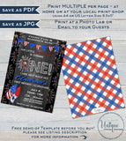 Firecracker Editable First Birthday Invitation, 4th of July 1st Birthday Invite, One Firework Chalkboard  Printable