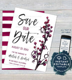 Save our Date  Invitation, Editable Plum Wedding Invite, Purple Wedding Watercolor Save the Date Postcard Printable