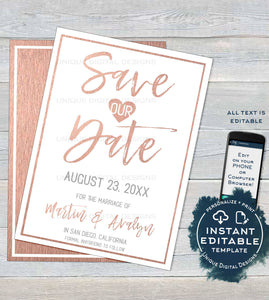 Rose Gold Save the Date Template Invitation, Editable Wedding Invite, Wedding Watercolor Save our Date Postcard Printable INSTANT DOWNLOAD