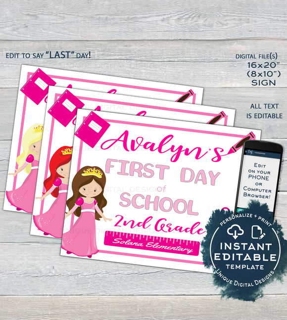 Pretty Princess First Day of School Sign, Girls Editable School Sign, Back to School Any Grade diy Digital Printable Template INSTANT ACCESS