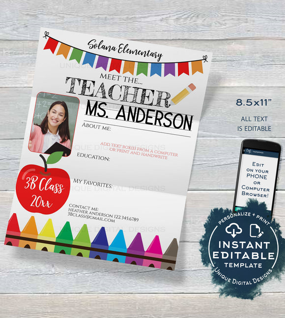 Editable Meet the Teacher About Me Letter Template, Get to Know School Staff Appreciation Week, Staff of the Month, PTA Flyer INSTANT ACCESS