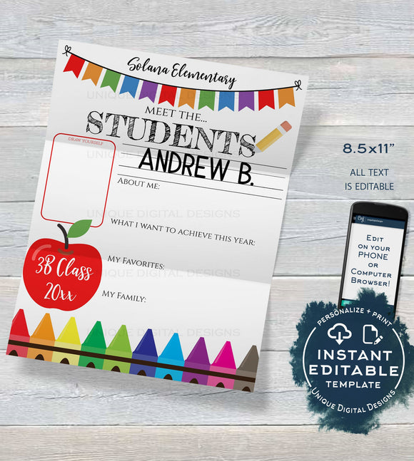 Editable Meet the Students About Me Letter Worksheet Template Get to Know Class Back to School Student of the Month PTA Flyer INSTANT ACCESS