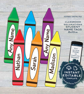 Teachers Classroom Decorations, Editable Crayons Back to School New Pack, Pta Door Student Names Printable   UTCR
