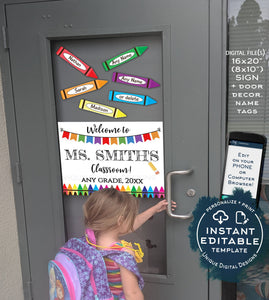 photograph regarding Printable Door Decorations referred to as Editable Trainer Doorway Signal, Reusable Instructors Clroom Decorations, Welcome towards Initial Working day of College, Printable Template Prompt Achieve UTCR