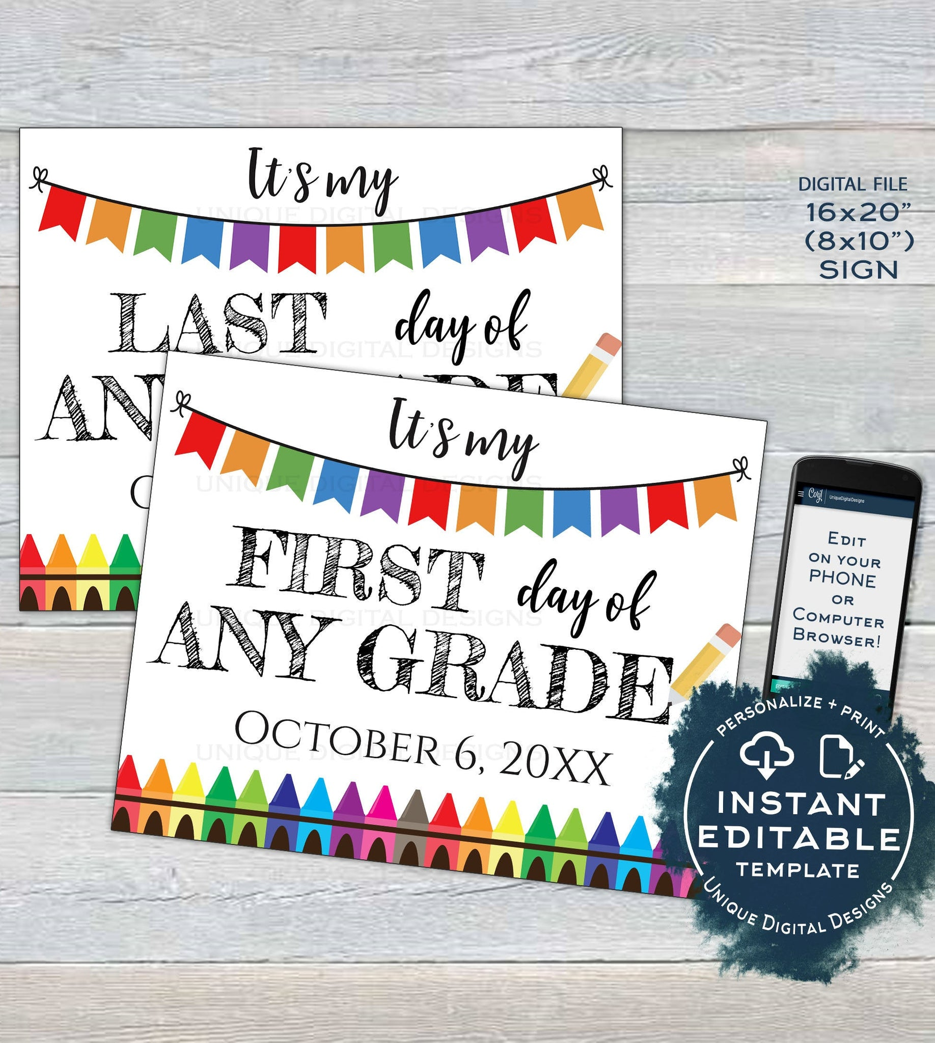 photo about Printable Back to School Signs identified as Editable Again in direction of Higher education Symptoms, Reusable Initially Working day of College