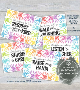 Bundle Classroom Rules, New Class Etiquette Signs, Student Reminders, Kids Handprint, diy Teacher Decorations  Printable