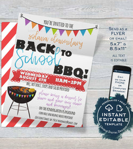 Back to School BBQ Flyer, Editable Open House Invite, Meet your Teacher Luncheon pta Printable Invitation, Digital