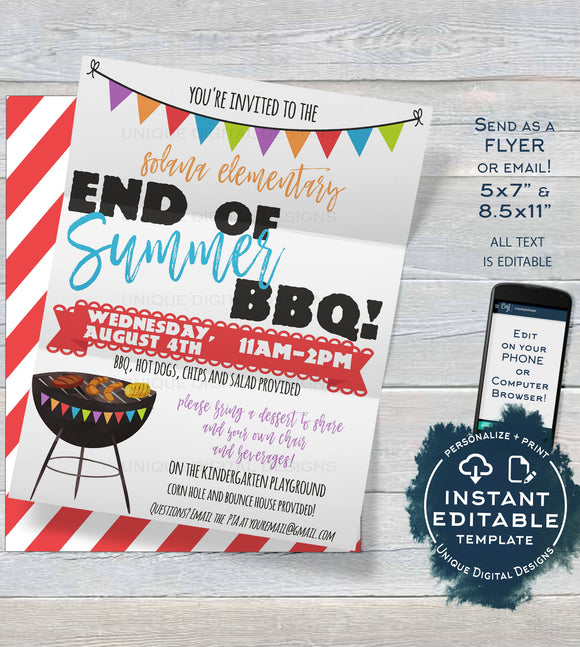 End of Summer BBQ Flyer, Editable School Open House Invite, Meet your Teacher Lunch pta Printable Invitation Digital