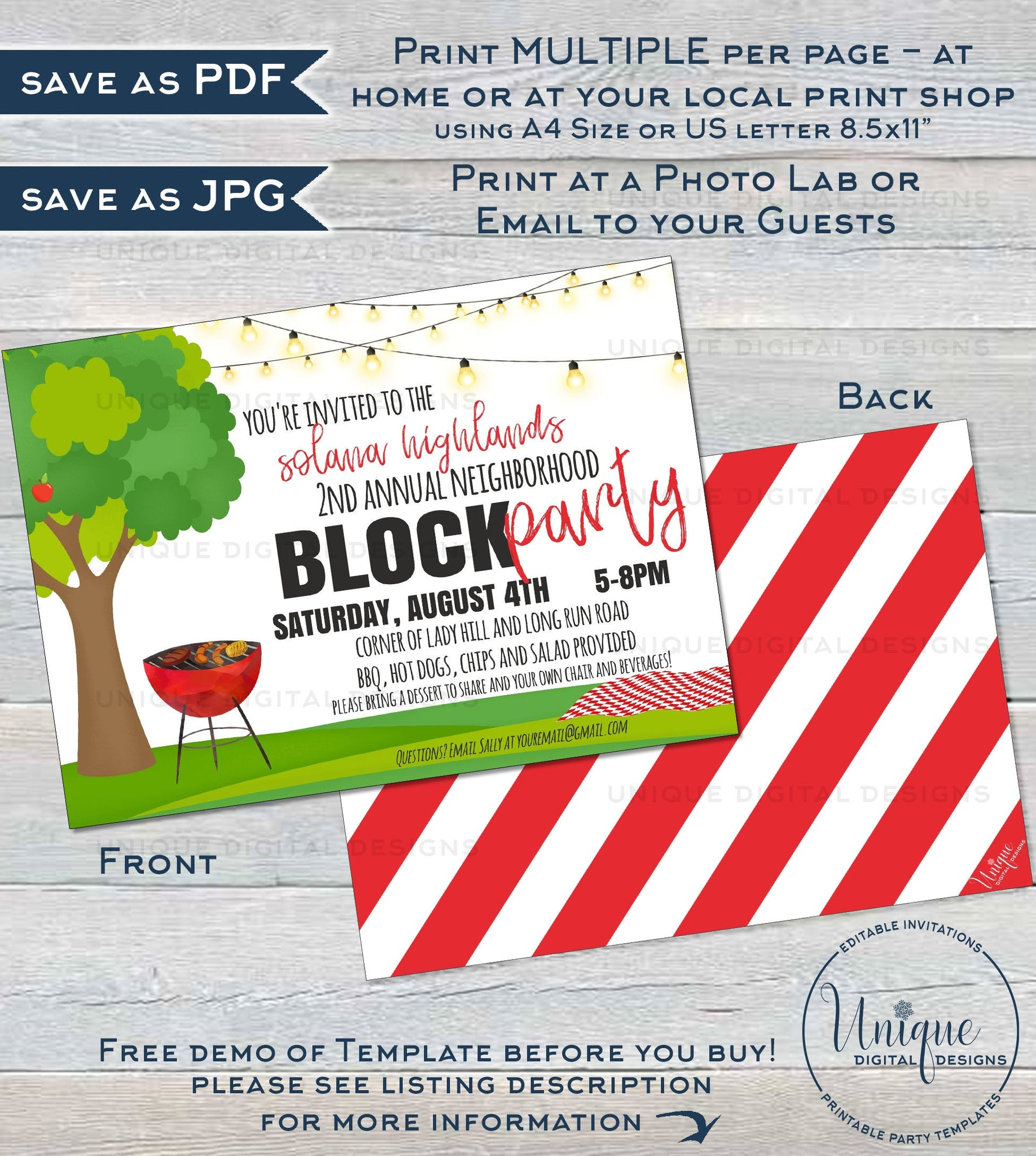 Editable Block Party Invitation Template Neighborhood Street B