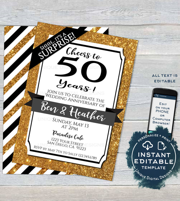 50th Anniversary Invitation, Editable Fiftieth Golden Wedding Anniversary, 50 year Surprise Party Invite, Printable Template INSTANT ACCESS