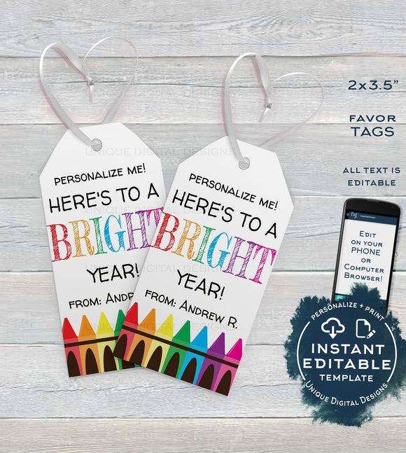 First Day Favor Tags for Teachers, Kids Editable Back to School Teacher Printable Gift Tag, Class Thank You Crayons Template INSTANT ACCESS